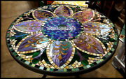 Black Marble Round Dining Table Marquetry Inlay Gemstones Living Room Deco H3811