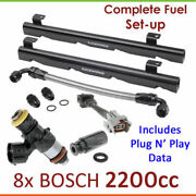 8x Bosch 2200cc Injectors And Fuel Rail Set-up For Holden Hsv Commodore Sv Le Vn