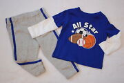 Baby Boys Blue L/s T-shirt Layer Look All Star Sports Ball Knit Pants Gray 18 Mo
