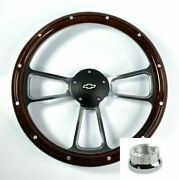 14 Billet Wood Steering Wheel W/ Bowtie Horn Adapter For 1969-1994 Chevy Cars