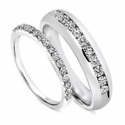 7/8 Ct T.w. Diamond His And Hers Wedding Band Set Solid In 10k White Gold -igi-