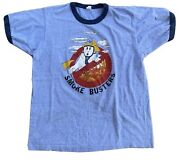 Vintage Smoke Busters Ringer Tee 80s T-shirt Ghost In Fire Fighter Hat Fireman