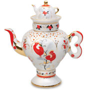 Russian Traditional Motifs Roosters Teapot By Imperial Porcelain Lomonosov Lfz