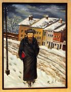 Hassidic Rabaii In Snow Gorgeous Details Oil On Board By Listedr.stone Framed