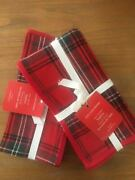 Williams Sonoma Four 4 Red Tartan Holiday Napkins New Christmas Red Green