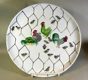 Vtg Italy Pottery Large Plate Platter Chickens Rooster Hens Chicks Chicken Wire
