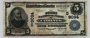Corinth Mississippi Ms 5 National Bank Note 1902 Large Andnbspblue Seal Ch 9094