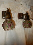 Simple Mission Style Arts And Crafts Sconces W/ Consolidated Art Glass Shades