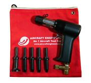 Aircraft Tools 2x Pneumatic / Air Rivet Gun With .401 5pc Snap Set In Pouch