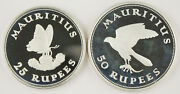 Mauritius 1975 25 And 50 Rupee Proof Silver 2 Coin Set Butterfly And Kestrel