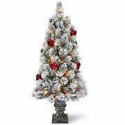 4' Snowy Bristle Pine Entrance Tree With Red And Silver Ornaments With 70 Clear...