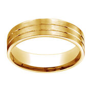 14k Yellow Gold 6mm Comfort Fit Satin Parallel Groove Carved Band Ring Sz 13