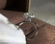 Floral 2ct Round Cut Moissanite Solitaire Engagement Ring 14k White Gold Finish