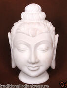 8 White Marble Buddha Fine Work With Stone Buddha Calm And Blessing Posture Decor