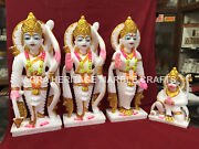 12 Traditional Marble Ram Parivar Hand Painted Art Hinduism Religious Gift E165