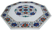 White Marble Coffee Table Lapis Stone Inlay Marquetry Christmas Gift Decor H3061