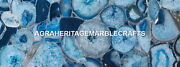 Dining Marble Blue Agate Fine Stone Table Top Occasional Furniture Decor H5582