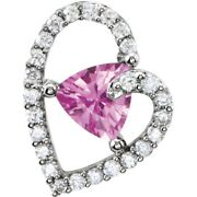 Sapphire And Real Diamond Heart Necklace And Pendant 14k White Gold