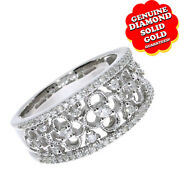 0.50 Ct Round Cut Natural Diamond Open Clover 14k White Engagement Band Ring