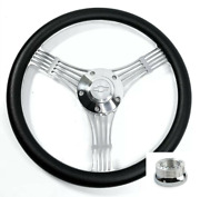 14 Polished Banjo Steering Wheel, Black Wrap, Chevy Horn Button, Adapter A01