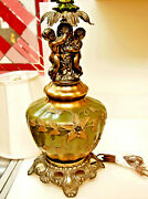 Vintage Table Lamp Glass/brass Applied Flowers By Accurate Casting Co. New York