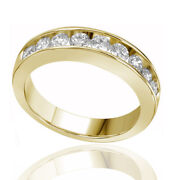 1.00 Ctw Round Real Diamond Eternity Wedding Band Ring Solid 14k Yellow Gold
