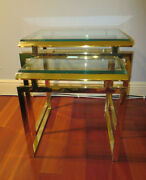 Brass And Glass Asian Inspired 1960s Nesting Tables