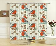 3d Red Hat Bird Branch I173 Christmas Window Photo Curtain Fabric Quality Amy