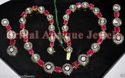 9.47ct Polki Rose Diamond Ruby Victorian Look 925 Silver Earring Necklace Set