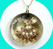 .45ct Vintage Sapphire Ruby Pearl Ballerina Disk Pendant Necklace 14k Yg 1 3/4
