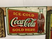 Vintage 1930and039s Coca-cola Square Metal Bottle Sign Gas Station Country Store Oil