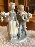 Lladro Figurines Retired, Country Flirt And Girl With Flowers And Dog