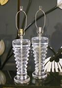 Rare Pr Signed Van Teal Lucite Acrylic Lamps Mcm1970's Hollywood Regency