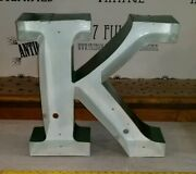 Reclaimed Industrial Green Channel Letter K Rustic Salvaged Decor Marquee Sign