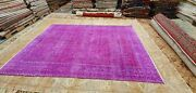 Rare Antique 1930-1940and039s Over Dye Fuchsia Wool Pile Oushak Area Rug 6and0399andtimes9and0397
