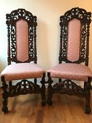 Set Of Two Antique Late 1800and039s Neo Gothic Carved Oak Wood Chairs