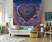 3d Heart And Key Ribbon G342 Wallpaper Mural Self-adhesive Removable Vincent Amy