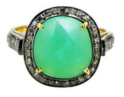 2.16ct Rose Cut Diamond Emerald Antique Victorian Look 925 Silver Cocktail Ring