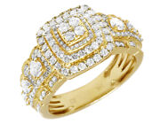 14k Mens Yellow Gold 3 Tier Pyramid Stepped Shank Real Diamond Pinky Ring 2ct