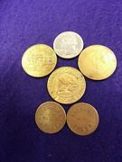 10 Of 34 Mixed Lot Of 5 Vtg Brass Tokens St. Edwards Hospital Parking Expo++
