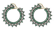 2.12cts Rose Cut Diamond Emerald Antique Victorian Look 925 Silver Hoops Earring