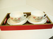 Starbucks Holiday Teacup Gift Set 2006 2 Cups 2 Saucers Laquered Tray New