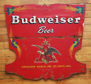 Large Antique Hand Painted Budweiser Anheuser Busch Wood Sign Eagle Crest Wagon
