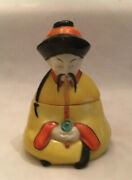 Vintage Porcelain Inkwell Chinese Man Smoking Pipe Made In Germany
