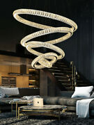 New Curved Crystal Chandelier Living Room Dimmer Staircase Lighting Ceiling Lamp