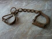 Antique 1900s Old Wrought Iron Leg Cuffs Ankle Prisoner Shackles Chain