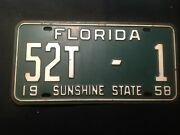 Florida License Plate 1958 Baker County 52t-1