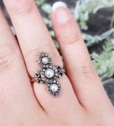 2.18ct Rose Cut Diamond Pearl Antique Victorian Look 925 Silver Cocktail Ring