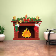 Holiday Fireplace Wall Decal Winter Christmas Window And Wall Decorations H92