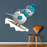 Skiing Snowman Wall Decal Winter Clings Christmas Window Party Decorations H50